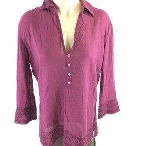 Eddie Bauer Womens Blouse Purple 3/4 Sleeve Plunge